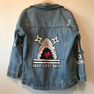 "Oversized Denim Jacket ""War Sweet War"" Shark"